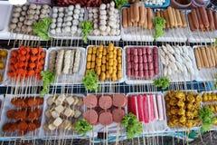 油煎的食物用棍子,泰国样式食物,泰国街道食物,曼谷 免版税库存图片