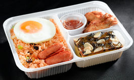 油煎的饭盒米蔬菜 库存照片