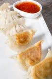 油煎的饺子用辣味番茄酱 库存照片