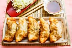 油煎的饺子- Gyoza 免版税库存图片