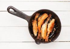油煎的鱼栖息处 图库摄影