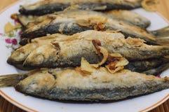 油煎的鱼波儿地克的鲱鱼在一块竹餐巾的一块板材说谎 免版税库存照片