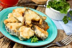 油煎的鱼海兔子(虚构物鱼,海鼠) 库存照片