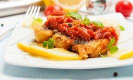 油煎的鱼片断在西红柿酱的用红萝卜。 库存图片