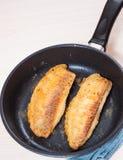 油煎的鱼片 免版税库存照片