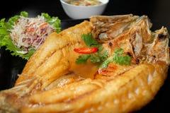 油煎的鱼用新鲜的草本和甜辣调味汁 免版税库存照片