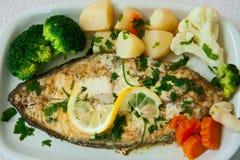与菜的油煎的鱼 库存照片