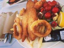 油煎的鱼紧密 库存照片