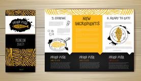 油煎的鱼餐馆菜单构思设计 艺术品企业公司本体模板向量 免版税库存照片