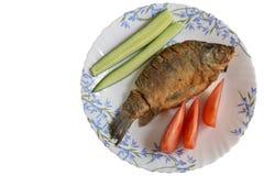 油煎的鱼crucian在一块板材用蕃茄和黄瓜 免版税库存图片