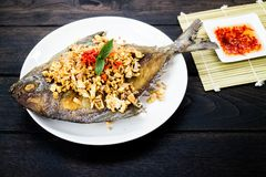 油煎的鱼Toppted用大蒜 免版税图库摄影
