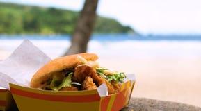 油煎的鲨鱼和由海滩烘烤快餐户外在Maracas海湾在特立尼达和多巴哥 免版税图库摄影