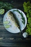 油煎的鲭鱼在板材服务,装饰用香料、草本和菜 r o 黑暗木 免版税图库摄影