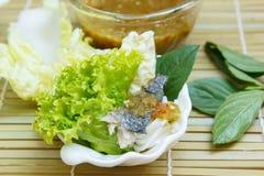 油煎的鲭鱼服务用煮沸的泰国米细面条 免版税图库摄影
