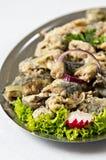 油煎的鲱鱼盘 库存图片