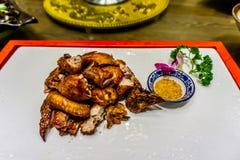 油煎的鸡汉语 库存图片