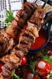 油煎的kebab 免版税库存图片