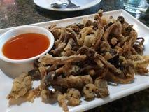 油煎的mushroomsCrispyEating的食物 免版税库存照片