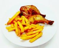 油煎鸡大腿肉餐食物马球 免版税图库摄影