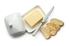 黄油用切的面包 免版税库存图片