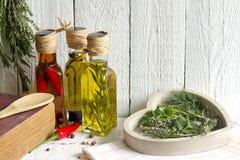 油用草本和香料食物概念 免版税库存照片
