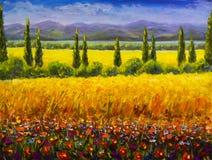 油画意大利夏天托斯卡纳风景、绿色柏灌木、黄色领域、红色花、山和蓝天艺术品o 免版税库存图片