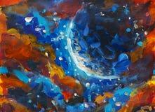 油画是一个大光亮的行星,满天星斗的天空,宇宙,波斯菊 美妙的横向 免版税图库摄影