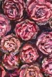 油画特写镜头花 大红色紫罗兰色在帆布的花玫瑰色牡丹特写镜头宏指令 现代印象主义 向量例证