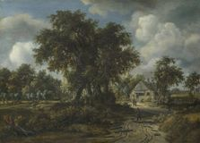 油画:Meindert Hobbema -伍迪风景 免版税库存照片