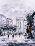 油画-巴黎街道视图  库存例证