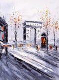 油画-巴黎街道视图  皇族释放例证