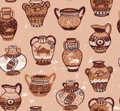 油罐和花瓶wih动画片动物和装饰装饰品的汇集在希腊样式 库存照片