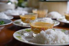 油腻的米用咖喱 免版税库存图片