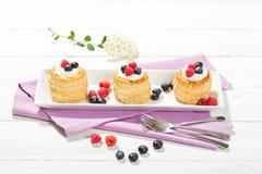 油酥点心用香草冰淇凌和奶油、蓝莓和r 图库摄影