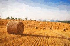 油画夏天风景-在领域的干草捆在收获以后 免版税库存照片