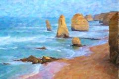 油画样式;十二使徒岩,维多利亚,澳大利亚 库存照片