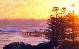油画样式;日出和海洋码头 免版税图库摄影