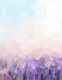 油画淡紫色花在草甸 库存图片