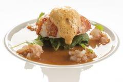 黄油水煮的龙虾用椰子咖喱汤 库存图片