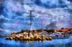 油画美好的海视图在沿海城市 库存照片