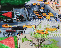 油画都市风景 图库摄影