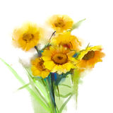 油画静物画与绿色叶子的黄色向日葵 免版税库存图片