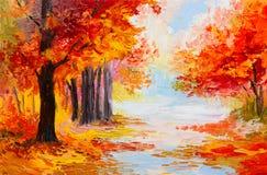 油画风景-五颜六色的秋天森林 免版税库存图片