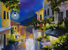 油画风景-在海附近的街道,夜城市,灯笼 向量例证
