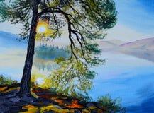 油画风景-在湖附近的树日落的 免版税库存照片