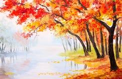 油画风景-在湖附近的秋天森林 库存图片