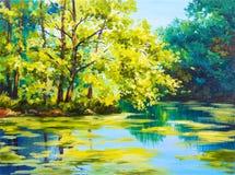 油画风景-湖在森林里 免版税图库摄影