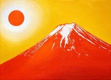 油画,红色Mt 富士在2017年6月 免版税库存照片