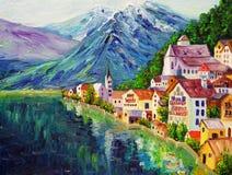 油画- Hallstatt,奥地利 库存图片