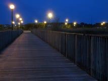 沼泽地走道在晚上 免版税图库摄影